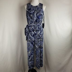 Tommy Hilfiger Printed Cropped Jumpsuit Sz 10 $129